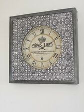 París Antiguo En Relieve De Pared Arte Decoración Hogar Gran estación de Metal Reloj 60cm