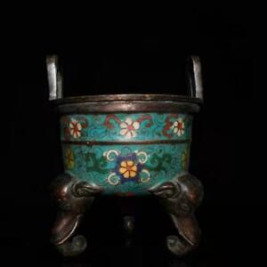 Collectibles Copper Cloisonne Exquisite Incense Burner Brass Statue AP446