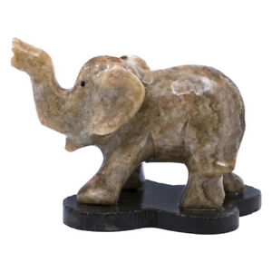 """Unique Hand Carved Brown Marble Stone Asian Elephant Figurine Carving 2.75"""" Long"""