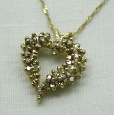 Vintage Lovely 14 Carat Gold And 1.00 Carat Diamond Set Heart Pendant And Chain