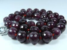 AAA Charming 8mm Faceted Garnet Red Gemstone Round Beads Necklace 18""