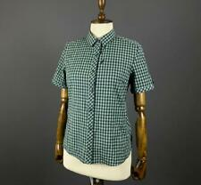 Ladies Icebreaker Merino Green Check Short Sleeve Button Up Shirt Size M