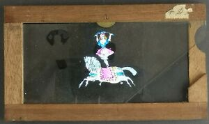 VICTORIAN HAND PAINTED MAGIC LANTERN SLIPPING SLIDE / GIRL PERFORMING ON HORSE