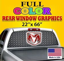 Truck Car Rear Window Graphics Tint Decals Perforated Sign Dodge Ford Chevy Ram