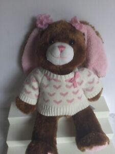 build a bear workshop,for girls/brown and pink 16 in,stuffed with hugs and good