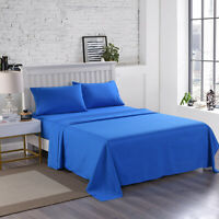 King Queen Size Blue Bed Sheet Set 4 pcs Breathable Soft Luxury Bedding Set