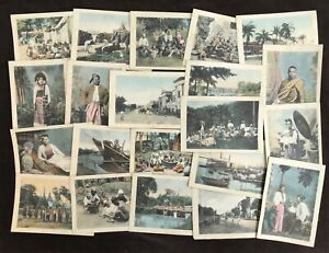 Burma c.1890's Group of 21 Hand Coloured Collotype Photographs by Felice Beato