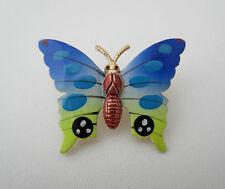 Vintage Costume Jewellery Brooch Pin Butterfly Multi-Coloured Enamel Metal 1970s