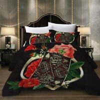 3D Poker Skeleton King Flower KEP144 Bed Pillowcases Quilt Duvet Cover Kay