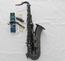 Professional Matte Black Nickel C Melody Sax High F# Saxophone 2 Necks New Case