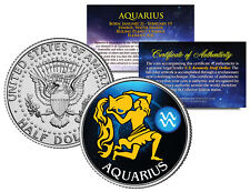 AQUARIUS Horoscope Astrology Zodiac Kennedy U.S. Colorized Half Dollar Coin