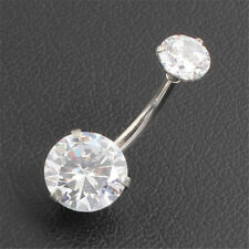 Zircon Belly Button Ring Body Piercing Navel Ring 316L Stainless Steel Jewelry