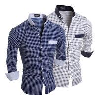 Luxury Mens Stylish Slim Fit Shirts Long Sleeve Formal Dress Casual T-shirt Tops