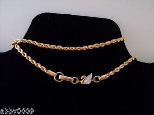 Signed Swarovski Gold Plated Golden Pave Swan Diamond Cut Neck Chain