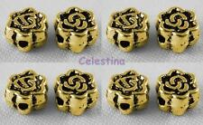 50 x Gold Plated Spacer Beads - Rose Flower Beads - LF CF NF - 4.5mm - SP84