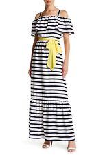 2b0ad5ccb10 Eliza J Women s Cold Shoulder Striped Maxi Dress Navy Ivory Size 8