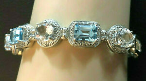 Sterling Silver Bracelet Blue Topaz Diamond Bangle Emerald Cut Rhodium 925 #1366