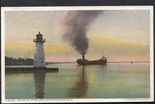 America Postcard - Sunset at Upper Light, Sault Ste.Marie, Michigan  RS1860