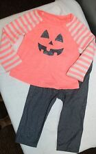 GIRLS 12M HALLOWEEN OUTFIT Pink Jack-o-lantern Pumpkin Face + Sparkle Leggings