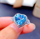 Sky Blue Heart Adjustable Ring 925 Sterling Silver Womens Girls Jewellery Gifts
