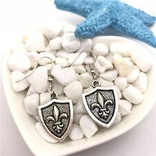 Fleur De Lis Shield Earrings Tibet silver Charms Earrings Charm Earrings for Her