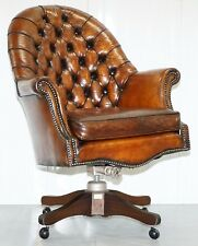 Restored 1940 Hillcrest Chesterfield Antique Whisky En Cuir Marron capitaines chaise
