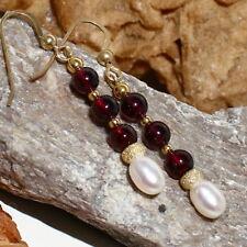 Granat Ohrringe – Silber 925 vergoldet – weiße Süßwasser Perle brillant Rondell