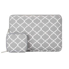 Mosiso Laptop Sleeve Quatrefoil Moroccan Trellis Style Canvas Fabric Case Bag