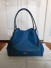 NWT COACH $375 Edie 31 Refined Pebble LeatherTote Shoulder Bag, Denim