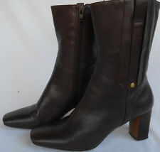 Nine West Boots 7M Womens Mid Calf Brown Leather Heels NWEALENE Side Zip 0606