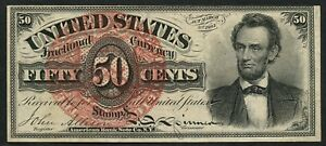 """FR1374 50¢ 4TH ISSUE """"LINCOLN"""" FRACTIONAL NOTE -- CHOICE CU -- CV $1,200 HW3897"""