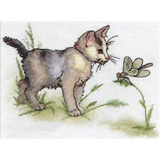 Cross Stitch Kit Kitten with a dragonfly