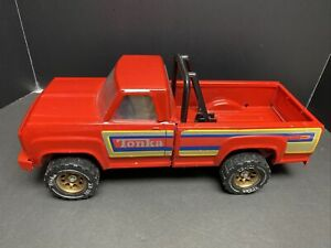 1983 Red Tonka Pick Up Truck Roll Bars holder for motor cycle NICE Condition!