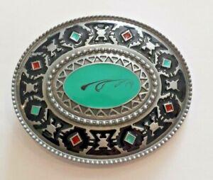 Aztec Mongolian Oval Gunmetal Enamel belt buckle to attach to own belt New