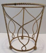 Florentine WASTE Trash CAN(s) Gold Gilt ROPE TWIST Hollywood Regency Italy Tags