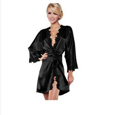 black Sexy Ladies' Lace Lingerie Silk Pajamas Sleepcoat Nightdress Sleepwear