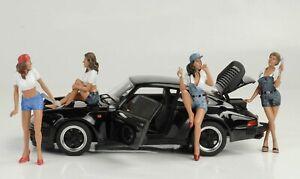 Figurine Mechanic Girl Set 4 Figurines 1:18 American Diorama Without Porsche