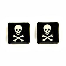 STAINLESS STEEL POST EARRINGS JOLLY ROGER Skull Pirate Crossbones Pair Stud NEW
