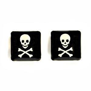 STAINLESS STEEL POST EARRINGS JOLLY ROGER Skull Pirate Crossbones Pair Stud NEW