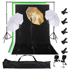 Photography Kit 3 Light Bulb Umbrella Muslin 3 Backdrop Stand Set Photo Studio