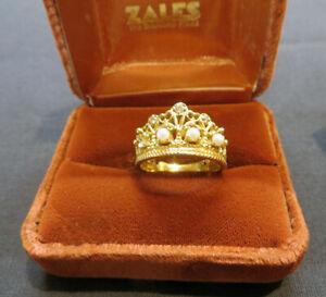 Stuart Devlin Franklin Mint Princess Diana Diamonds & Pearls 14K Gold Tiara Ring