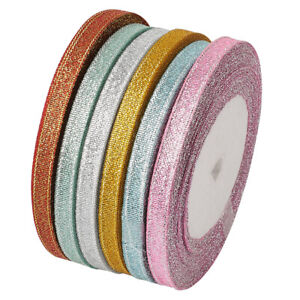 """6 Rolls Double Faces Satin Ribbons Metallic Sparkling Gift Packing Trims 1/4"""""""