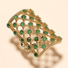 Two Tone New Year Jewelry Gifts Natural Filigree Emerald Ring 925 Stering Silver