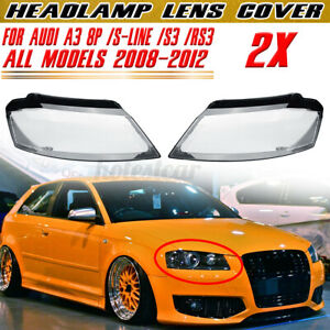 For Audi A3 8P S-line S3 RS3 Headlight Headlamp Lens Cover  8P0941029,8P0941030