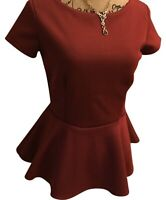 Red Peplum Cap Sleeve Womens Blouse, Small
