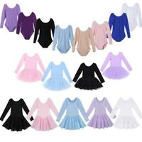 Kids Girls Ballet Leotard Dance Dress Long Sleeve Gymnastics Ballerina Costumes