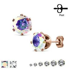 Pair of Rose Gold Plated CZ 316L Surgical Steel Stud Earrings - Various Sizes