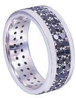 14K White Gold Round Cut Sapphire Band Ring Eternity Art Deco Wedding 2.00ctw