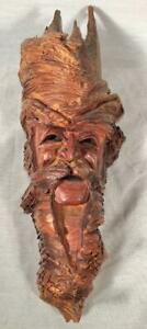 "1982 ORIGINAL OOAK SIGNED ""WELLS 83"" WOOD CARVING TREE / FOREST SPIRIT ENT B"