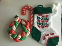 """Vintage 3 Christmas Ornaments 7.5"""" Stocking 4"""" Wreath 5"""" Candy Cane Holiday"""